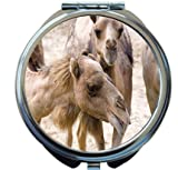 Rikki Knight Camels Smiling Together Design Round Compact Mirror