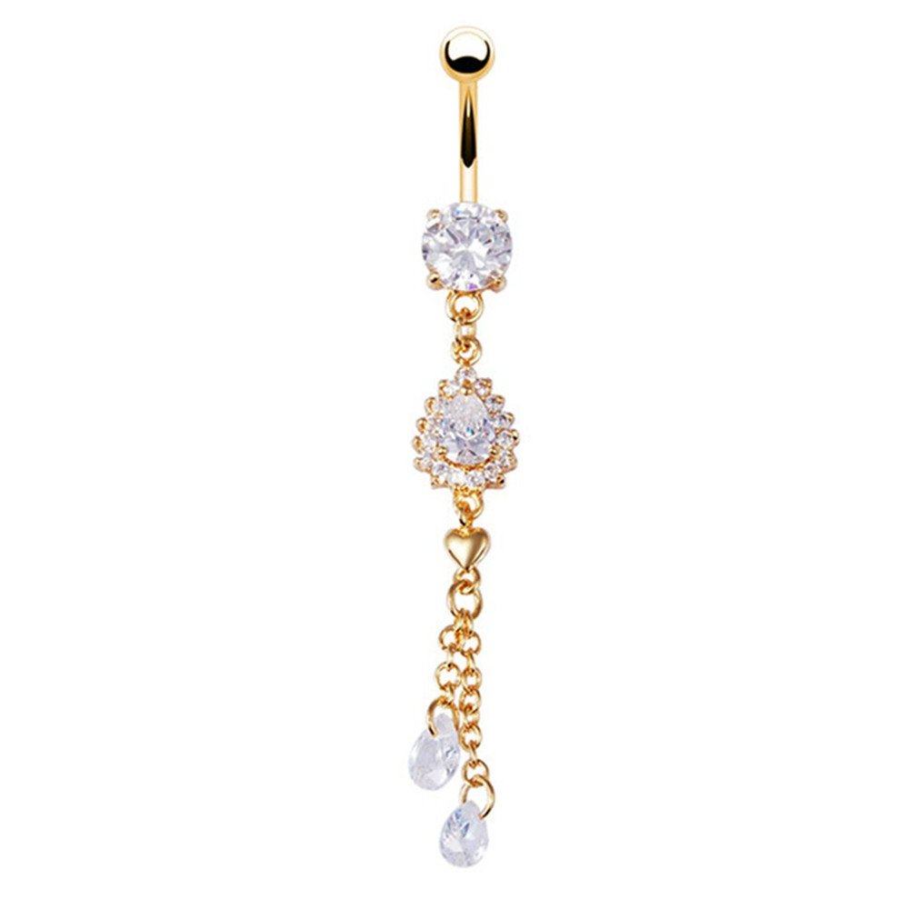 BODYA gold Rhinestone Stainless Steel Crystal drop heart long dangle Belly Button Rings Navel bar Body Piercing Jewelry JW3144