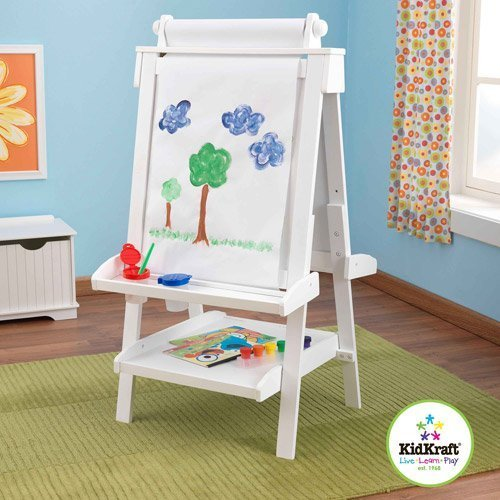 Kidkraft Deluxe Wood Easel, White - Children's Easels - Kids Toy - Paint, Color or Draw - Anti-spill Paint Cups - Paper Dispenser by KidKraft
