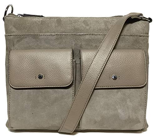 Tignanello Voyager Conv. Leather/Suede Cross Body W/RFID Protection, Taupe/Mushroom