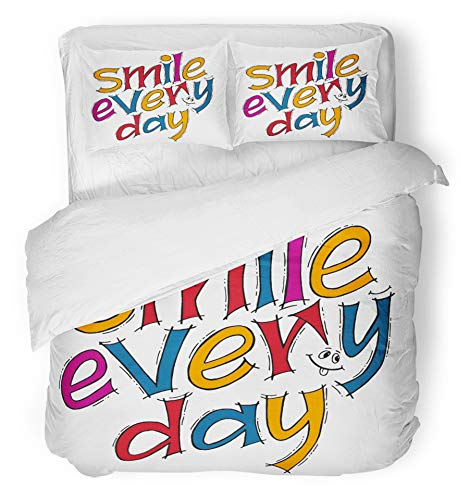 Emvency 3 Piece Duvet Cover Set Breathable Brushed Microfiber Fabric Inspirational Quote Smile Every Day Modern Calligraphy Lettering Design with Unique Bedding with 2 Pillow Covers Full/Queen Size