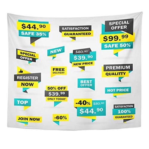 Emvency Wall Tapestry Yellow Offer Price Labels and from Green Special Sticker Sale Referral Best Badge Decor Wall Hanging Picnic Bedsheet Blanket 60x50 Inches