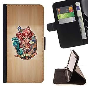 BullDog Case - FOR/Samsung Galaxy S4 IV I9500 / - / fairytale siren art red hair drawing character /- Monedero de cuero de la PU Llevar cubierta de la caja con el ID Credit Card Slots Flip funda de cuer