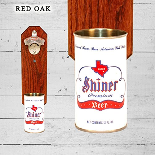 Wall Mounted Bottle Opener with Vintage Shiner Texas Beer Can Cap Catcher