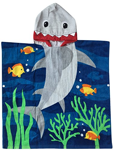 Athaelay Kids Beach Towels for 1 to 5 Years Old, Cotton, Use for Baby Toddler Boys Bath Pool Swim Poncho Cover-ups Cape, Extra Large 24x48, Ultra Breathable and Soft for All Seasons, Shark Theme ()