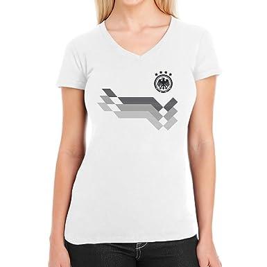 fe90d93cdf23 Deutschland Fußball Trikot für Frauen WM Fanartikel Damen T-Shirt  V-Ausschnitt  Amazon.de  Bekleidung