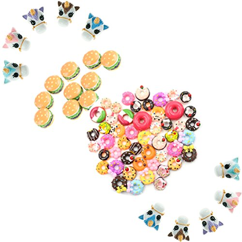50 Pcs Mix Resin Flatback Hamburg Unicorn Head Doughnut Bread Cake Dessert Dollhouse Food Charm Art Album Flat Back Phone Scrapbooking Hair Clip Hairpin Sewing DIY Craft Accessory Jewelry Decor by Xiangfeng