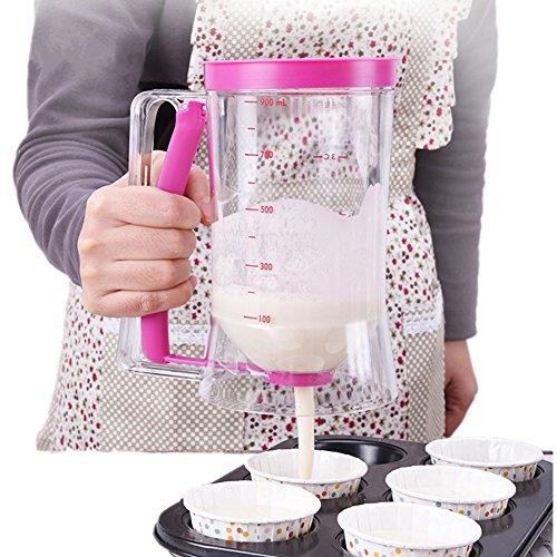 Yafeco Cake Batter Dispenser with handle Pancake Batter Dispenser - Perfect Baking Tool for Cupcakes, Easy Pour Home Kitchen Food Gadgets - Bakeware Maker with Measuring Label