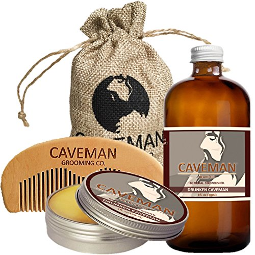 Caveman Beard Oil and Beard/Mustache Balm Wax, Handmade Comb Set in Drunken Caveman (Bay Rum) Scent 1oz oil, balm, comb (Beard Oil And Mustache Wax compare prices)