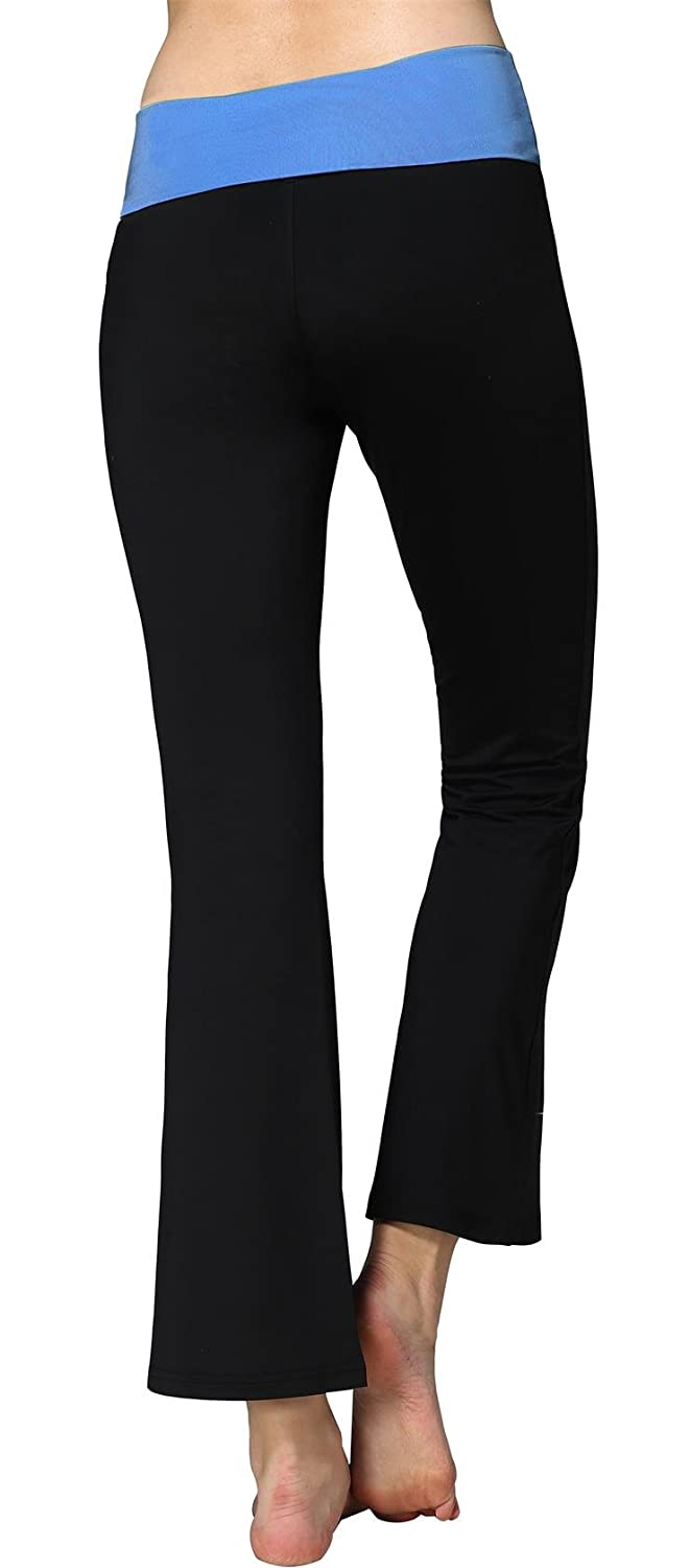 Sugar Pocket Womens Fold Over Waistband Bootleg Yoga Pants