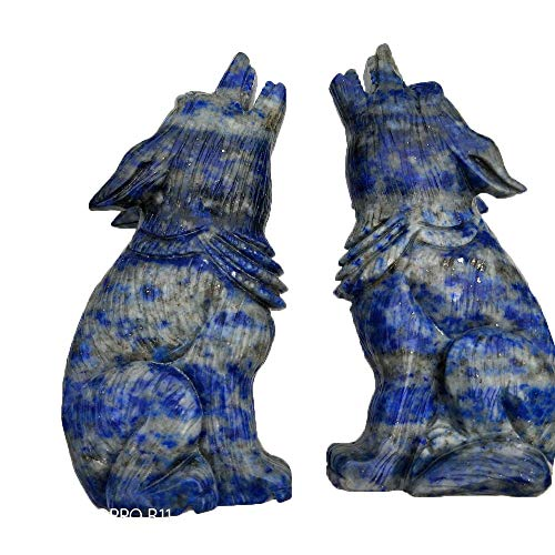 (Natural Crystal Carving Lapis Lazuli Wolf Figure Statue Hand Carved Crystal Healing for Family)