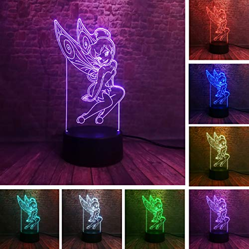 (Rare Peter Pan Fairy Tinker Bell Snowflake Tinkerbell Princess 7 Color Change Action Figure Sleeping Night Light Child Xmas Gift (Snowflake)