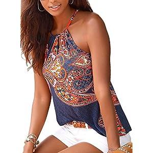 39fd8000bd725 Astylish Women s Summer Floral Print Sleeveless Spaghetti Strap Cami Tank  Tops