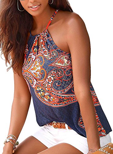 Podlily Women's Cute Boho Vest Sleeveless Shirt Racerback Spaghetti Strap T-Shirt Cami Top Small ()