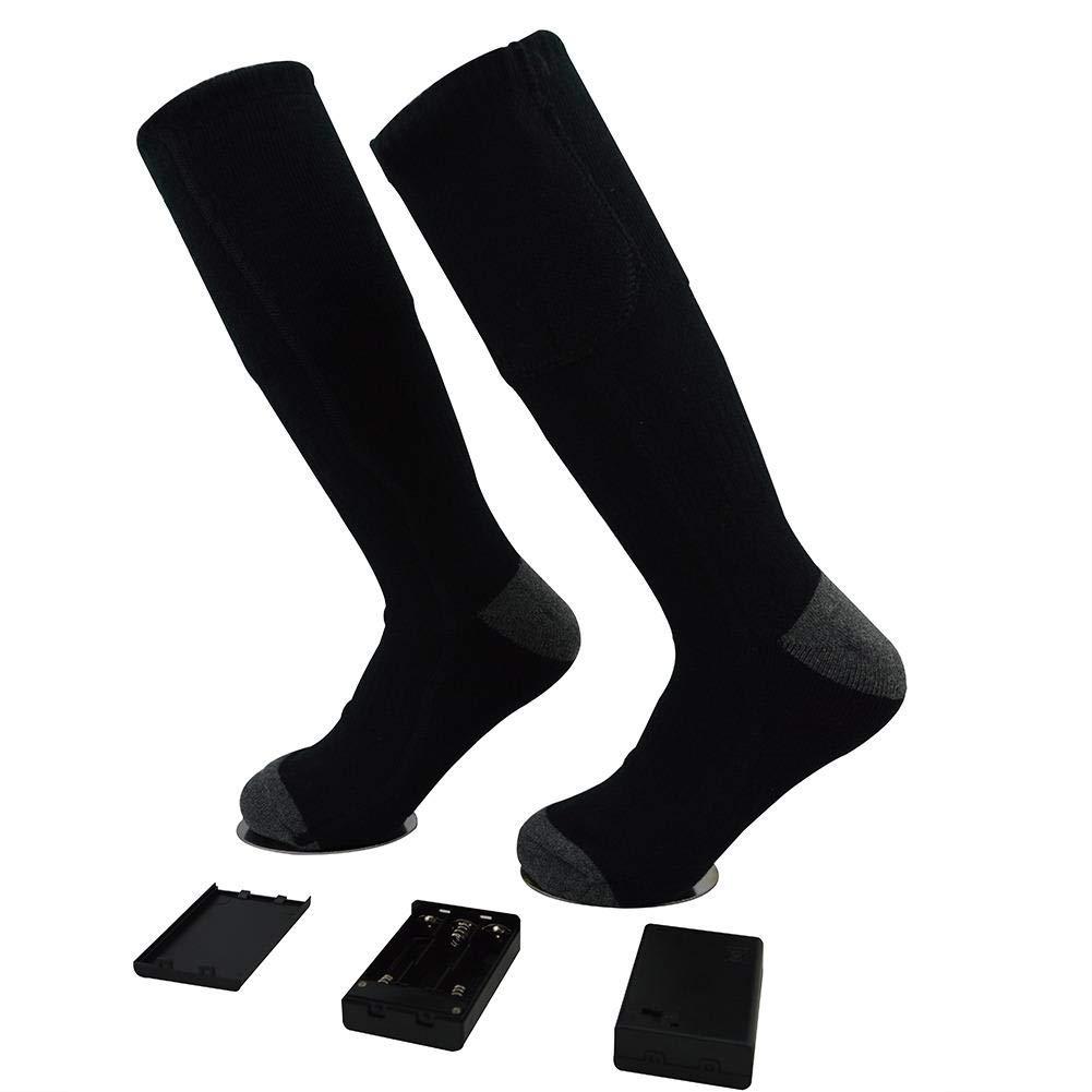 1Paar Beheizbare Socken, Thermosocken Winter Fußwärmer Elektrisch Sportsocken Kniestrümpfe, Wiederaufladbare Beheizte Socken für Winterfischen, Schneeschuhwandern, Wandern, Skifahren zum Chronisch Kal Ksruee