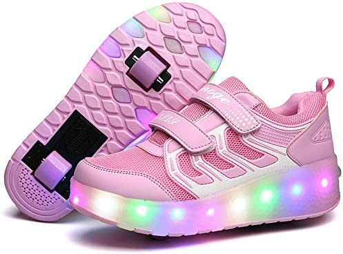 be97f9ff3fba Girls Light up Roller Shoes with Two Wheels Skate Sneakers For ...
