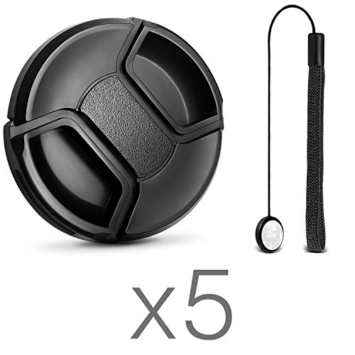 (10 Pcs Bundle) 5 Center Pinch Lens Cap (58mm) and 5 Cap Keeper Leash for Canon, Nikon, Sony and any other DSLR