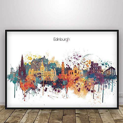 Edinburgh watercolor city print, Edinburgh Capital of Scotland Poster, Wall art, Edinburgh skyline, poster with the name, Home Decor, Digital Print, Unframed print