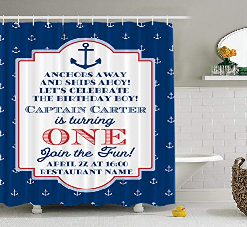 Summor Fabric Shower Curtain Nautical Sailor Theme First Birthday Party Invite Red Blue Amp White Sea 72x72 inches Mildew Resistant Waterproof Bathroom Shower Curtains Set of Hooks