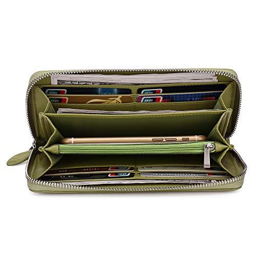 Women Leather Wallet Rfid Blocking Large Capacity Zipper Around Travel Wristlet Bags (Palm Green) by Doris&Jacky (Image #4)
