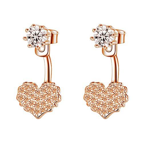 Wintefei Classic Bling Women Love Heart Drop Earrings Ear Jacket Girl Party Jewelry Gift - Rose Gold