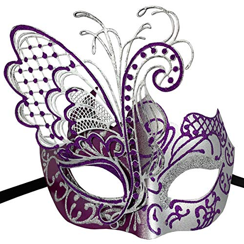 Xvevina Masquerade Mask for Women Shiny Glitter Venetian Pretty Party Evening Prom Mask (Butterfly Silver&Purple) ()