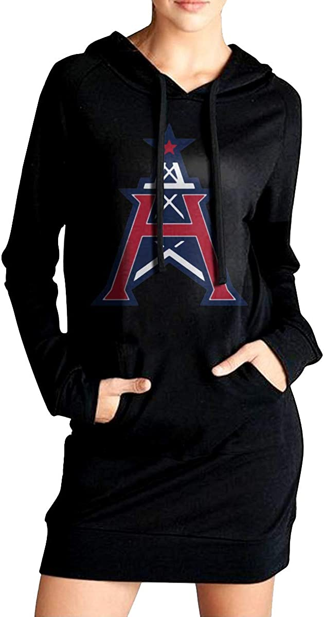 Houston Roughnecks Loose Casual Pullover Hoodie Dress Tunic Sweatshirt Dress with Pockets