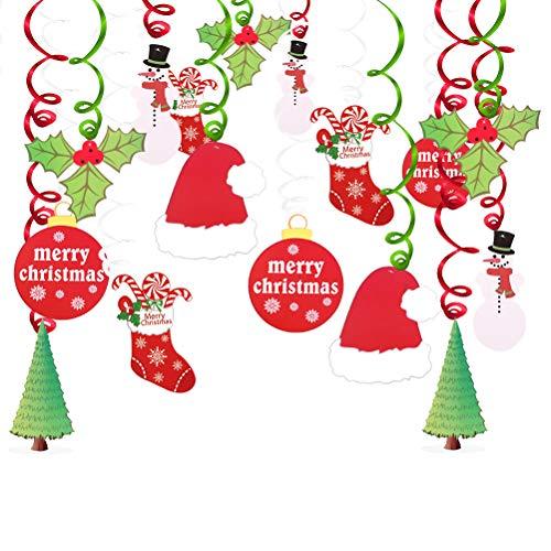 Swirl Foil Deep (Kkonetoy Christmas Light Bulb Birthday Party Supplies Fan Decors ,Christmas Hanging Swirl Decoration Kit, Merry Christmas, Christmas Leaves,Christmas Stockings,Snowmen, Christmas Hats, Christmas Cards,Christmas Trees foil Swirls)