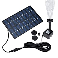 COSSCCI Solar Fountain Pump       Specifications Solar panel power consumption: 9V 1.8W Pump power consumption: DC 4.5-10V Maximum water height: 27.6inches Maximum flow: 200L/H Maximum delivery head: 59inches Start: The water pump will...