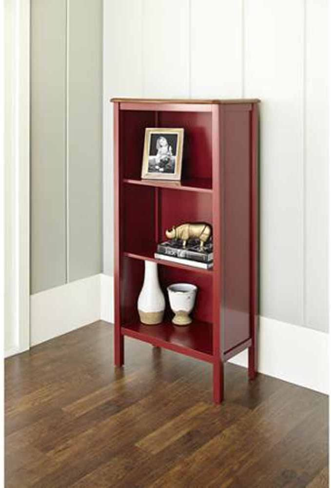 Bookcase with 3-shelves and a Curved, Deep Walnut Finished Top Panel Is a Stylish, Noteworthy and Ideal Storage Area for Your Home or Office. This Bookshelf Is a Beautiful Cabinet That Will Put Extra Storage Space in Your Kitchen. red