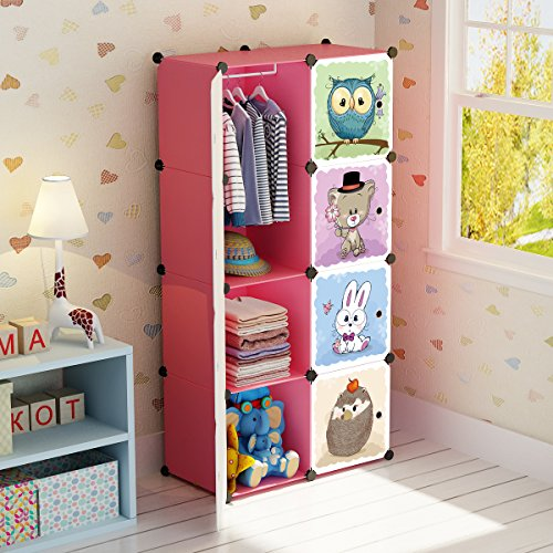 - MAGINELS Portable Kid Organizers and Cute Baby Storage Organizer Clothes Wardrobe Cube Closet MultiFuncation Bedroom Armoire Children Dresser Rack Forest Animal Pink 6 Cube &1 Hanging Section