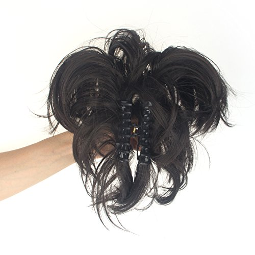 DODOING 14 inch Adjustable Messy Bun Updo Style Ponytail Scrunchie Hair Extension with Clip on Large Claw Style Hair Clip-Dark Brown