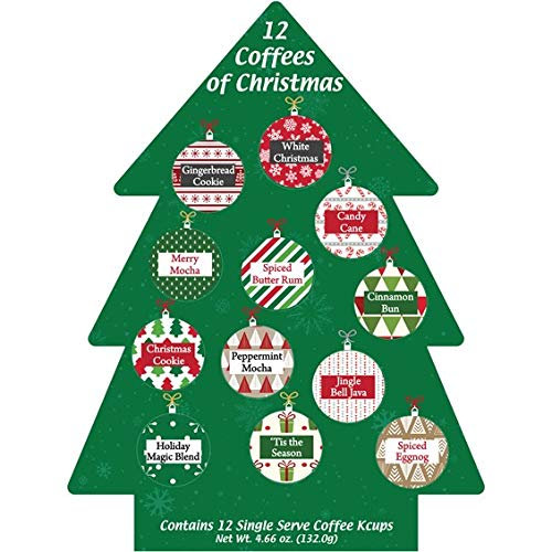 Christmas Holiday Gift Box - K Cup Coffee Christmas Gift 12 Single Serve Keurig Variety Sampler Assortment- Winter, Holidays Christmas Gourmet Gift Box Set - Best Xmas Present Idea/Stocking Stuffer For Coffee Lover In Xmas Tree.