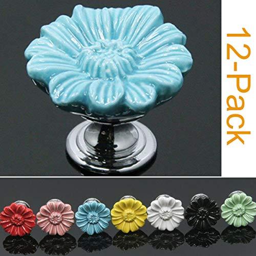 SunKni 12 Pack Ceramic Cabinet Knobs for Girl, Sturdy Flower Knobs Pulls for Dresser Drawers Kitchen Cabinet Cupboard (Chrysanthemum, Blue) (Knob Flower Petal Design)
