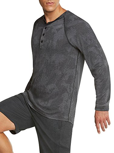 Jolt Gear Men's Long Sleeve Henley Crewneck T-Shirt – Dry-Fit Casual Camo Top w/Buttons