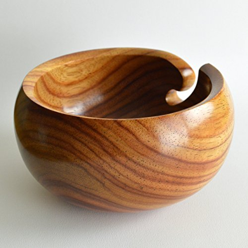 Polystone Deluxe Hand Crafted Yarn Storage Bowl | Crochet & Knitting Accessories | Nagina International (Large (7x4), Natural Wood)