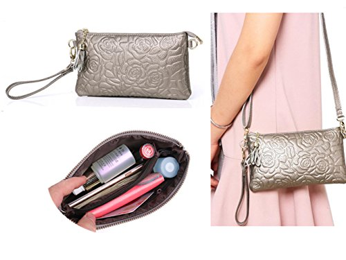 Zg Women Crossbody Clutch Wallet Purse, Rose Embossing Soft Leather Wristlet Cell Phone Clutch Wallet Purse with Shoulder Strap - Metallic Grey (Purse Metallic Handbag)