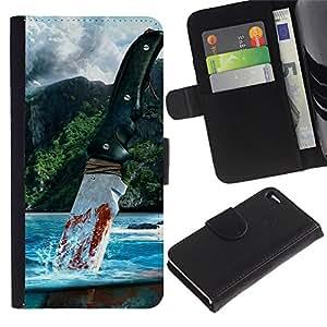 Muy lejos - la tarjeta de Crédito Slots PU Funda de cuero Monedero caso cubierta de piel Para Apple Apple iPhone 4 / iPhone 4S