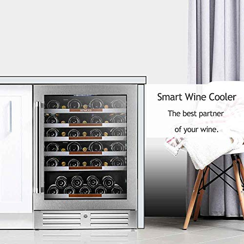 Sipmore 24'' Wine Cooler Refrigerator 44 Various Bottle Built-in or Freestanding Single Zone with Seamless Stainless Steel and Smart Temperature Stabilize System with Stage LED Design by Sipmore (Image #6)