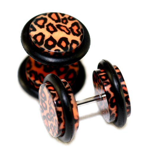 leopard print fake plugs - 1