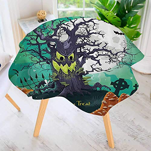 YCHY Indoor/Outdoor Premium Tablecloth-Trick or Treat Halloween Theme Dead Forest with Spooky Tree GravesMushrooms Available in Many Different Sizes and Colorways 55