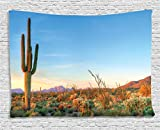 Sunset Tapestry Saguaro Cactus Decor by Ambesonne, Sun in the Western Desert Prickly-pear Cactus Southwest Texas National Park, Bedroom Living Room Dorm Wall Hanging, 80 X 60 Inches, Orange Blue Green