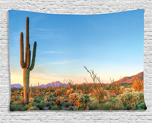 Sunset Tapestry Saguaro Cactus Decor by Ambesonne, Sun in the Western Desert Prickly-pear Cactus Southwest Texas National Park, Bedroom Living Room