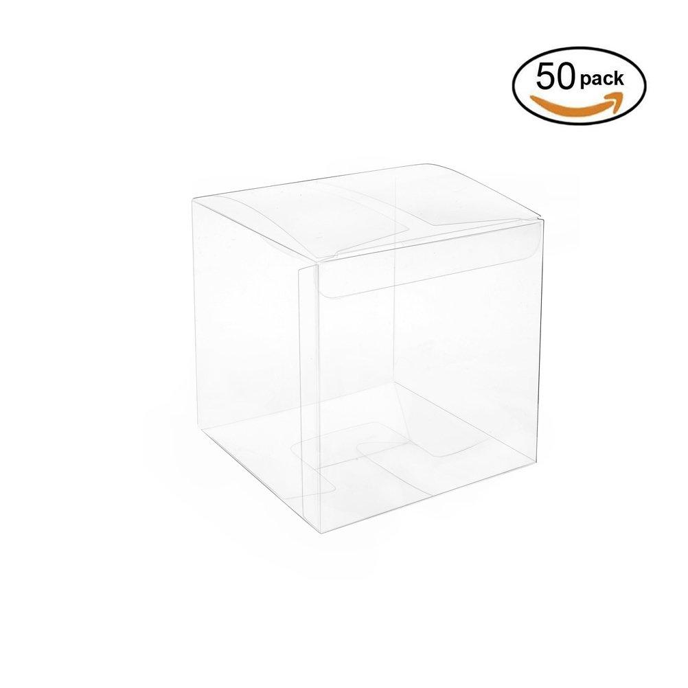 Amazon.com: Houseables Clear Favor Boxes, Plastic Gift Box, 3x3x3 ...