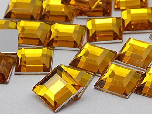 5mm Gold Topaz H107 Flat Back Square Acrylic Gemstones High Quality Pro Grade - 100 (Topaz Flat Back)