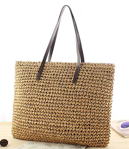 Summer Tote Straw Beach Shoulder Solid Women Donalworld Handbags Pt2 Tassel YqOPCw