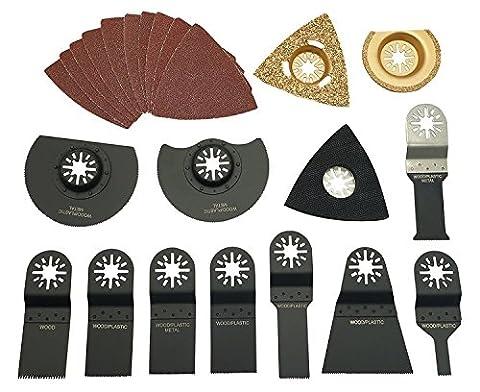 HERZO Expert 23 Piece Universal Oscillating Multi-tool Accessory Kits Mixed Multitool Saw Blades, Oscillating Sander (Bosch Multi Sander)