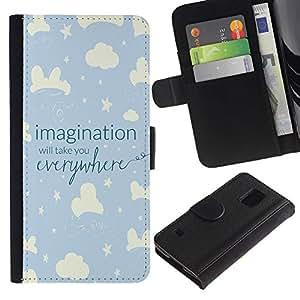 SAMSUNG Galaxy S5 V / i9600 / SM-G900 Modelo colorido cuero carpeta tirón caso cubierta piel Holster Funda protección - Sky Night Kid Blue Stars Clouds