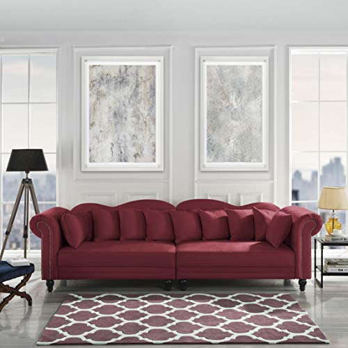 Classic Linen Chesterfield Scroll Arm Large Living Room Sofa (Rose Red) (Linen Chesterfield)