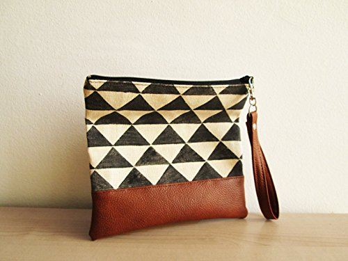 Geometric print clutch Wristlet Black and white Cosmetic bag Zippered Pouch Triangle by by MART